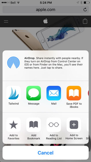 Share to Tailwind now available on iOS